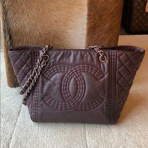 CHANEL Authentic chain CC shopper leather tote!